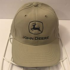 7fbac4b76b7 Details about John Deere Power K-Products Snapback Hat Khaki Black Gold  Logo Embroidered Cap