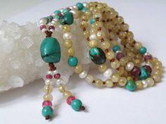 Golden Rutilated Quartz gemstone necklace  by DancingLotusDesigns