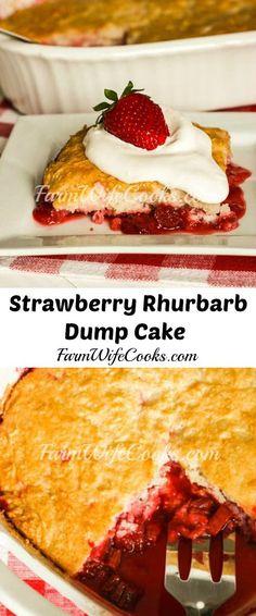 This Strawberry Rhubarb Dump Cake recipe is an easy dessert recipe everyone will love! Dump Cake Recipes, Delicious Cake Recipes, Strawberry Icing, Strawberry Recipes, Summer Dessert Recipes, Mini Desserts, Easy Desserts, Rhubarb Dump Cakes, Easy Main Dish Recipes