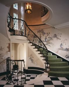 This Georgian style home in Pittsburgh features a hand painted mural in the foyer, which enhances the beauty of the intricate architectural details of the staircase, the wrought iron balustrades and the floor. Future House, My House, Georgian Style Homes, Grand Staircase, Winding Staircase, Spiral Staircase, Stairway To Heaven, Interior Exterior, Interior Railings