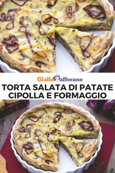La torta salata di patate, cipolle e formaggio è un piatto rustico molto facile da preparare e ideale da servire come antipasto o per un buffet. La base di pasta brisè avvolge un ripieno di patate, cipolle rosse, formaggi e patate. #giallozafferano #tortesalate #quiche #buffet #antipasti #patate #potatoes #onion #cipolle #picnic #aperitivo #antipasti [Quiche with potatoes, onion and cheese] Finger Food Appetizers, Best Appetizers, Appetizer Recipes, Antipasto, Quiches, My Favorite Food, Favorite Recipes, Good Food, Yummy Food