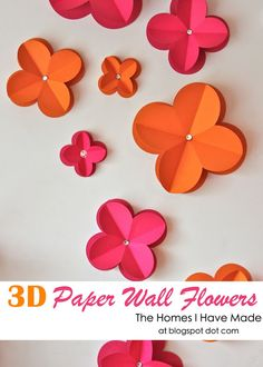 simple 3D wall flowers made from paper! Amazing and oh-so-inexpensive effect