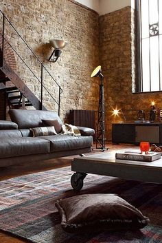 Beautiful Industrial Interior, Living room home decor, Brick walls, Click here for MORE: http://decorextra.com/18-stunning-industrial-living-room-designs/