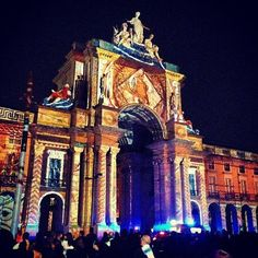 Night light show in Terreiro do Paço square Lisboa B John O. #Portugal