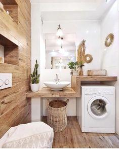 # Bathroom vinyl decor # Bathroom decor ideas small # Bathroom decor and tiles will be … – rustic home interior Laundry Room Design, Laundry In Bathroom, Small Bathroom, Bathroom Shelves, Design Bathroom, Bathroom Ideas, Wooden Bathroom, Bathroom Vinyl, Laundry Rooms