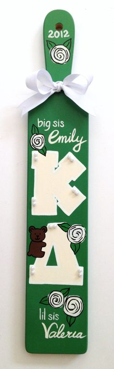 Hand Painted Sorority Paddle - KD - Bear Design. $80.00, via Etsy.