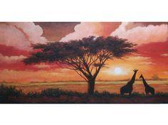 cuadro pintado a mano con tecnica mixta sobre lienzo de 3 cm de grosor. Pintura que representa la sabana africana con jirafas al atardecer.