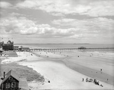 "Circa 1900. ""The beach at Old Orchard, Maine -- Ocean Pier and Hotel Velvet."" http://www.shorpy.com/node/21406 Detroit Publishing Co."