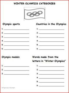 WINTER OLYMPICS CATEGORIES - pinned by @PediaStaff – Please Visit  ht.ly/63sNt for all our pediatric therapy pins