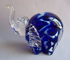 Hand Blown Glass Elephants | Hand Blown Art Glass Elephant Figurine.
