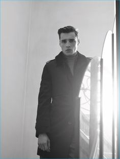 Adrien Sahores pictured in a sharp coat from De Fursac's fall-winter 2016 collection.