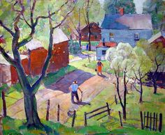 """Carl W. Peters, American (1897-1980)  """"Spring Planting""""  Oil on canvas. 25"""" x 30"""""""