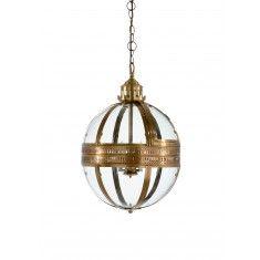 Antique Brass Glass Ball Pendant
