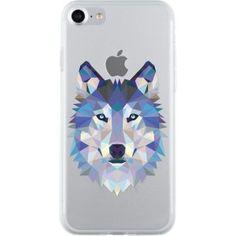 Coque semi-rigide transparente motif loup pour iPhone 7