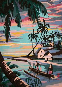 Vintage Tropical Painting