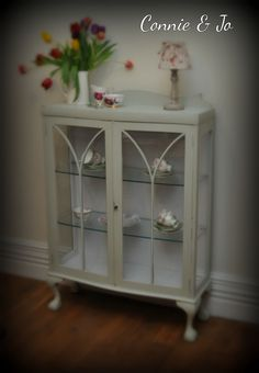 Vintage display cabinet painted in frenchic furniture paint 'wedgewood green & virgin white'