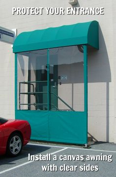 Open Sides On A Door Hood Awning Reveals The Powder Coated
