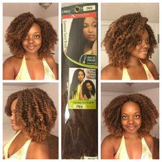 """""""This is the finished product of knot less crochet braids with X-pression Cuevana twist from @outre_hair . This style was achieved with the African…"""""""