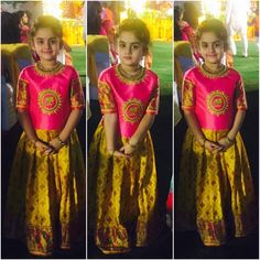 "Kids pattulanga/ 30 Likes, 1 Comments - Samta & Shruti Studio (@samtaandshrutistudio) on Instagram: ""Client diaries the beautiful lil Ridhima in the elephant embroidary pattu…"""