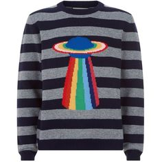 Gucci Planet Motif Intrasia Striped Sweater ($1,220) ❤ liked on Polyvore featuring tops, sweaters, woolen sweater, rainbow striped top, striped sweater, blue top and striped wool sweater