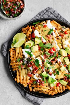 Waffle Fry Nachos with Vegan Queso • The Curious Chickpea Vegan Lunches, Vegan Snacks, Vegan Dinners, Vegan Foods, Healthy Snacks, Waffle Recipes, Veggie Recipes, Mexican Food Recipes, Snack Recipes