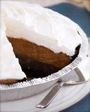 Ingredients  1 chocolate pie crust  3 small pkgs instant chocolate pudding  2 cups milk  1 tub Cool Whip    Directions  -Blend pudding mix and milk together  -Spread half in bottom of crust  -Blend 1 cup of Cool Whip with other half of pudding  -Spread this lighter layer on top of the pudding  -Spread remaining Cool Whip on pie  -Refrigerate!