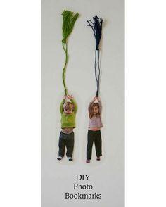 """""""Amei essa ideia de marcador de livro com fotos das crianças! Vimos na: nearlycrafty.com"""""""