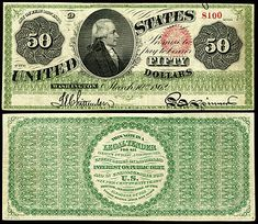 US 50 Dollar Note 1863 Mar 10 Serial# 13308 Signatures: Chittenden / Spinner Portrait: Alexander Hamilton Money Notes, Gold Money, Rich Money, Disney Activities, Gold And Silver Coins, Us Coins, Money Matters, The Unit, Legal Tender
