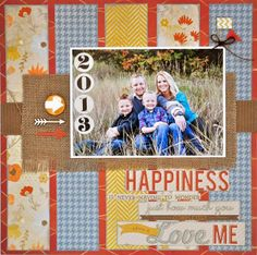 *Scrapbook Layout* This could actually make a cute fall layout, with the colors used and I like the burlap backing of the photo.
