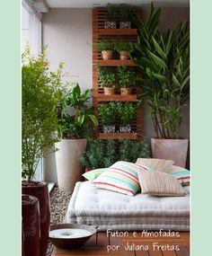balcony + vertical garden and pillows