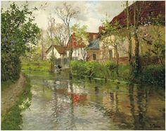frits thaulow norwegian 1847 1906 cottages by a river оil on canvas .