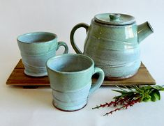 Handmade Pottery Ceramic Tea Set with Two Tea Cups and Teapot Glazed in Seafoam Green and Robin's Egg Blue