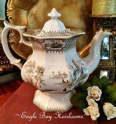 Antique Teapot  Brown Scenic Transferware  J. Hawley