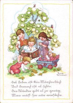 10874 Künstlerkarte Liesel Lauterborn - Kinder auf der Wiese, Puppenwagen
