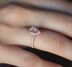 1.35ct Pear shape Ice Peach sapphire in 14k rose by EidelPrecious, $1600.00