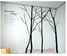 Tree Wall Decal Wall Sticker Winter Tree Decals Living room decor bedroom decal wall decor wall art-Set of 4 winter Trees-Large Vinyl Wall Stickers, Wall Decal Sticker, Wall Art Sets, Wall Art Decor, Room Decor, Tree Stencil, Tree Artwork, Tree Paintings, Tree Decals