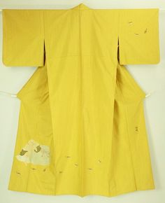Mastard yellow, daikokusama pattern, hitoe tsukesage kimono / 辛子色地 大黒様と雀柄 紬地単衣付下げ #Kimono #Japan http://global.rakuten.com/en/store/aiyama/