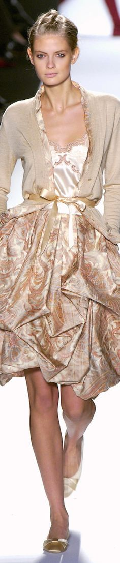 Oscar de la Renta ~ Sand + White Floral Dress w Cardigan