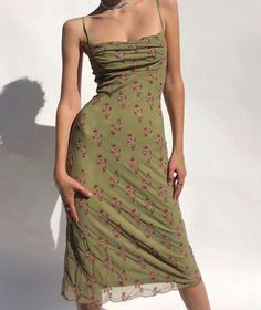 Green slip dress with purple flowers Fashion Mode, High Fashion, Fashion Outfits, Summer Outfits, Cute Outfits, Summer Dresses, Vintage Dresses, Vintage Outfits, Aesthetic Clothes