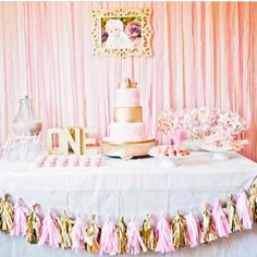 Pink and cute birthday table