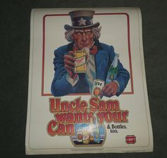 Vintage 1980 UNCLE SAM WANTS YOUR CAN & BOTTLES Miller Beer Company Poster, GUC!