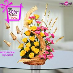 #Sendmygift Brings to you this Gorgeous Designer Mixed #Floral #Bouquet of Bright #Yellow #Roses and Pretty #Pink #Carnations at just Rs 999. Order Now and Get Flat 50% OFF.  Order Now!! http://bit.ly/2bCm93P  Flowers and Nature Roses Anthurium Chrysanthemum Happiness Celebrations India Sendmygift