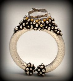 Almost Lost Ring | Flickr - Photo Sharing!Sterling silver, 22k gold, 18k gold, herkimer diamond; Delft cast with stone in place, granulation, liver of sulfur patina, hand finished