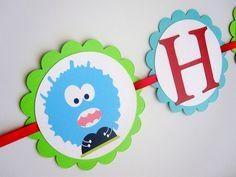 Monster Birthday Banner, Cute little Monsters for monster theme party
