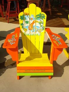 Jimmy Buffets Margaritaville lounge chair.  Our two JB Margaritaville adirondack chairs need some paint touch up.  I wonder if I should go with all the citrus colors