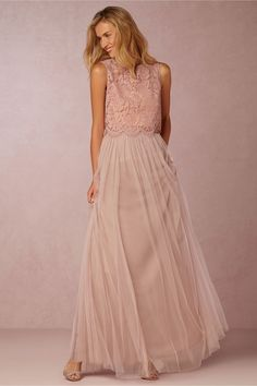 ROSE QUARTZ COLOR OPTION---BHLDN Louise Tulle Skirt WITH CLEO TOP.