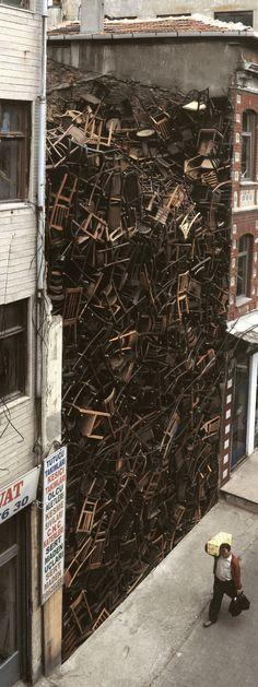 '1600 Stacked Chairs' Installation at 8th International Istanbul Biennial, 2003 / by columbian artist Doris Salcedo