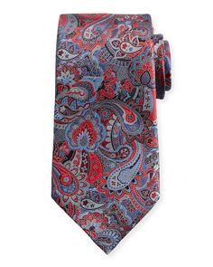 ERMENEGILDO ZEGNA Quindici Multi-Paisley Silk Tie, Red. #ermenegildozegna #