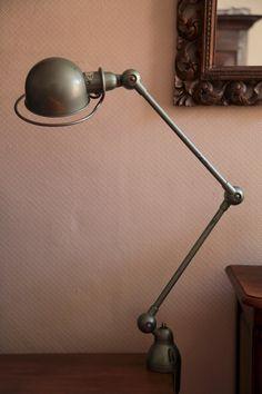 JIELDE Lamp 2 arms  Original Vespa Paint French by TempusAntiques Vintage Chairs, Vintage Lamps, Industrial Style, Vintage Industrial, Very Clever, Deco, Vespa, French Vintage, Desk Lamp