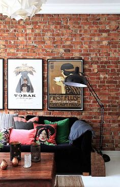 Home Decor Styles industrial living room with brick wall and floor lamp.Home Decor Styles industrial living room with brick wall and floor lamp Eclectic Living Room, Boho Living Room, Living Room Brick Wall, Eclectic Decor, Brick Wall Decor, Home Decor Styles, Cheap Home Decor, Craftsman Living Rooms, Home Interior